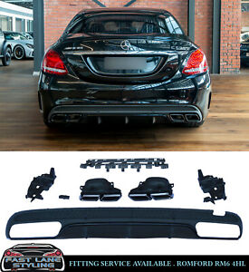 MERCEDES C CLASS REAR DIFFUSER & TAILPIPES W205 C63 AMG STYLE OEM LOOK 14-18