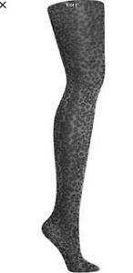 DKNY Size TALL, Charcoal Grey Leopard Tights