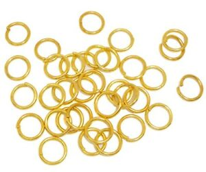 100 GOLD Plated 1mm Thick Metal Strong JUMP Rings -5mm, 6mm, 7mm, 8mm, 9mm, 10mm
