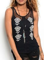 Black Mesh w/ Dots Embroidery Embellished Blouse Tank Top S M L