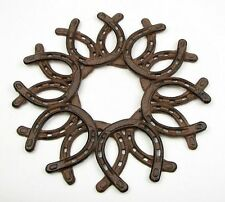 Cast Iron Horseshoe Wreath Wall Plaque Western Barn Home Office Horse Decor