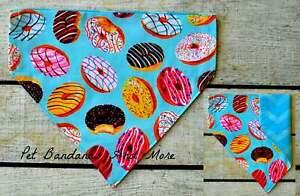 Dog Bandana Doughnuts Donut Nut Summer Pink Blue Over Collar Cat Scarf XS-XL