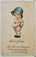 Valentine Greetings Cute Girl Holding Heart Card  Postcard L20