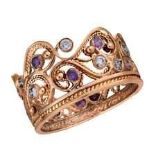 14K Rose Gold Crown Ring Filigree Band Small Round Purple Amethyst Lavender Gems