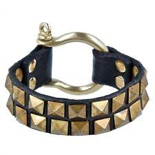 Campomaggi Bracelet Black Leather Gold Double Pyramid Rivets Studs + Bag Box
