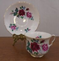 Queen Anne Bone China England Pink & Red Roses Tea Cup and Saucer #8295