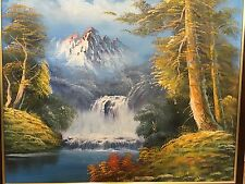Large Painting on Board of Waterfall, Trees and Mountains - Signed RMZPA