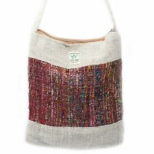 Natural Hemp & Silk Sling Bag with Zip, Handmade Colourful Himalayan Nepal Pouch