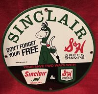 1967 VINTAGE STYLE SINCLAIR GASOLINE DINO PORCELAIN SIGN 12x12 INCH GREEN STAMPS