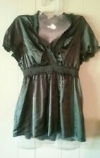 At Last L Large Black Satin Top Empire Waist Blouse V-Neck Elastic Stretch GUC