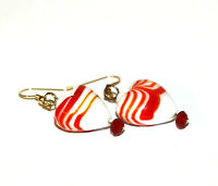 Red and White Striped Lampwork Glass Heart Bead Earrings with red and white crys