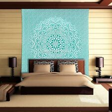 Indian Green Mandala Tapestry Queen Cotton Printed Wall Hanging Bohemian Decor