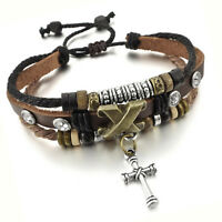 MENDINO Men's Women Alloy Leather Bracelet Rope Tribal National Cross Adjustable
