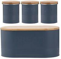 Typhoon Rippled Metal Tea Coffee Sugar Canister Set & Bread Bin Crock Set Blue
