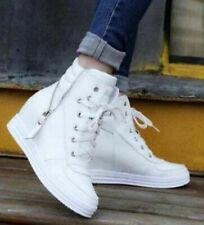 Women's Hidden Heel Wedge Lace Up Zip Trainers Casual Sneakers High Top Shoes Sz