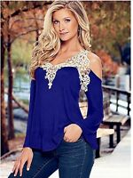 New Womens Loose Long Sleeve Sexy Lace T Shirt Casual Blouse Ladies Tops UK 6-18