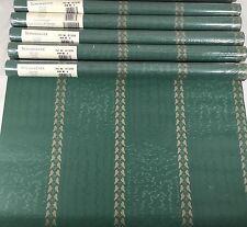 SCHUMACHER Wallpaper Lot 5 Double Rolls Green Gold Vine Leaf Stripe