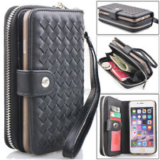 Luxury Weave Woven Leather Zipper Purse Wallet Case For iPhone 5s 6 6s 7 8 Plus