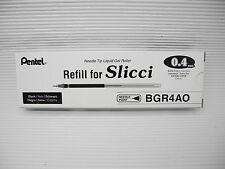 6 Pentel BGR4CAO 0.4mm Extra Fine gel ink rollerball pen refill Black for Slicci