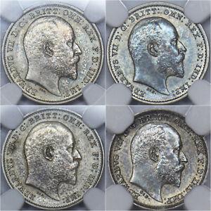1902 Matt Proof Maundy Set (NGC PF61-63) - Edward VII British Silver Coins