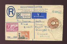 GOLD COAST TEMA REGISTERED STATIONERY QE2 to SCOTLAND 1956 1s 7d RATE AIRMAIL