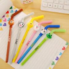 4pcs Creative Student Ballpoint Cartoon Pen Stationery Point Cute New Straw Ball
