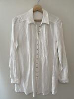 Anne Fontaine Paris France Linen White Tunic Shirt Size S Button Up  RRP $450