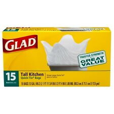 Glad Quick Tie Tall Kitchen Bags, 13 Gallons, White 15 ea (Pack of 8)