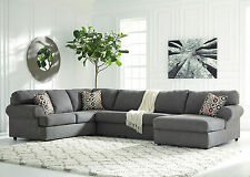 SAVION Large Modern Gray Microfiber Living Room Sofa Couch Chaise Sectional Set