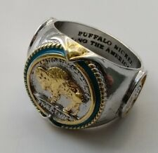 Buffalo Gold Silver Ring Nickel Coin 5 Cents Indian Mans Retro Old USA 1937 U C