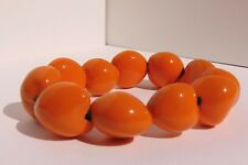 Genuine Vintage 1970s BIBA Era Statement Orange Bead Bracelet Adjustable Kitsch