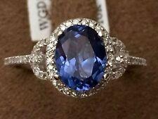 14K White Gold Oval Halo Vintage Blue Sapphire & Diamond Engagement Fashion Ring