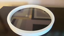 Nate Berkus Glass Decal Tray with White Wood Frame Round