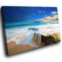 SC121 Blue White Green Beach Cool Nature Canvas Wall Art Large Picture Prints