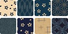 8 Indigo & Cream Sevenberry Kasuri Fat Quarter Quilt Fabric Bundle B:  2 Yds