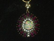 FLOATING OPAL PENDANT NECKLACE RUBYS WHITE TOPAZ 925 STERLING
