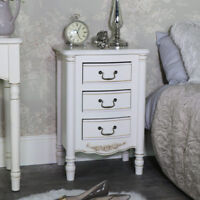 Vintage cream bedside table chest ornate French shabby chic bedroom furniture