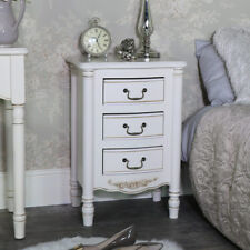 Ornate antique cream 3 drawer bedside chest table French home bedroom furniture