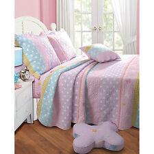 Polka Dot Stripe Twin Quilt Set 2pc Reversible Mattress Kid Bedroom Pillow Sham