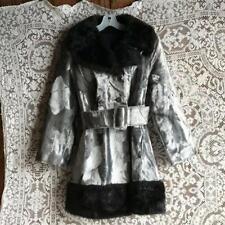 Vintage 1970s Faux Fur Coat Gray with Black Collar & Hem Big Belt NOS