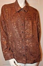 Coldwater Creek Metallic Shimmer Brown Design Jacket Sz 18W
