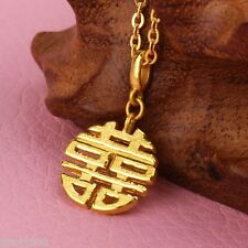 """Authentic Solid 24K Yellow Gold Pendant Blessing Happiness """"囍"""" Design Yuxi"""