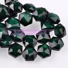 5pcs 14mm Hexagon Shape Faceted Glass Loose Spacer Beads Porcelain Deep Green