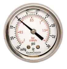 "1-1/2"" Vacuum Pressure Gauge - S.S. Case, 1/8"" NPT Ctr. Back Mnt -30HG/30PSI"