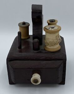 Vintage Small Handmade Primitive Sewing Box with Thread & Spools