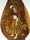 Vintage exotic wood bone and multicolor inlay.  Woman carrying basket.