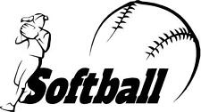 Softball car or  vinyl wall decal