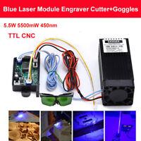 US DIY TTL Analog 5.5W 5500mW 450nm Blue Laser Module Engraving Cutter +Goggles