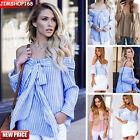 Mujer Sexy Hombro Descubierto Blusa Sin tirantes camiseta Informal Holgado
