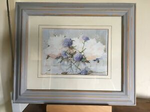 Pretty Shabby Chic Style Vase Of Flowers Picture In Grey Rustic Frame 13x10